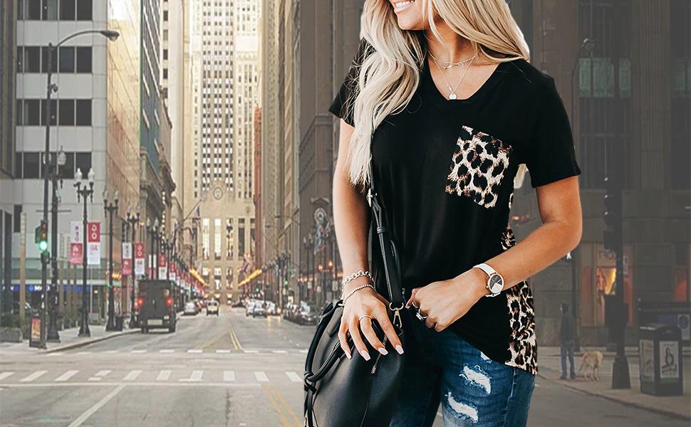 BRUBOBO Womens Summer V Neck T Shirts Leopard Print Short Sleeve Tunic Tops Tees with Pockets