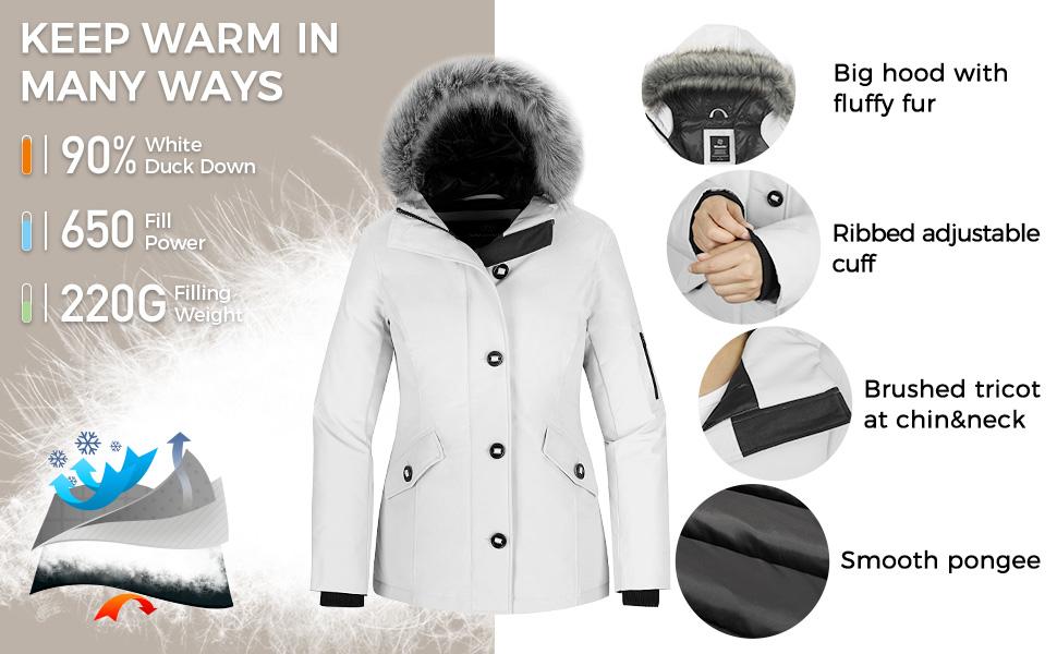 Women's Down Jacket Waterproof Snow Coat