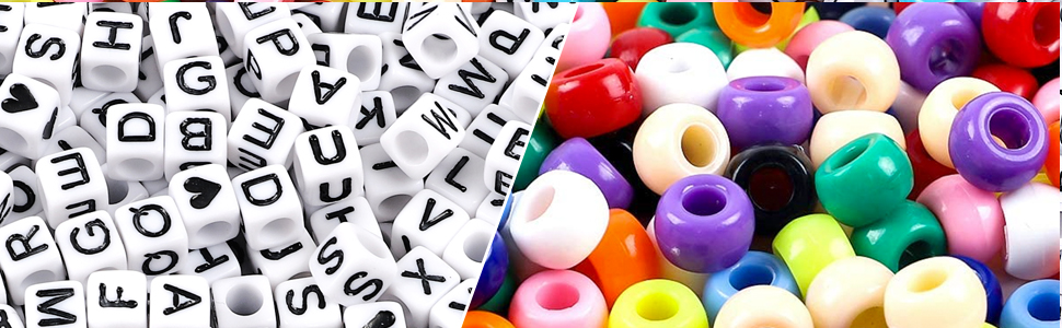 UOONY 1600pcs Pony Beads Kit Letter Beads Kit for Bracelets Multi Color for Name Bracelets Jewelry Making and Crafts with 5m Elastic String