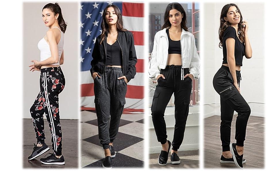 Shosho womens jogger pants,joggers,sweats,sweatpants,cargo pants,cuffed,jogging pants,casual pants