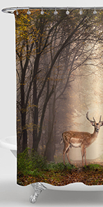 Fallow Deer Standing in a Dreamy Misty Forest Shower Curtain