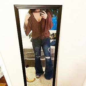 flare bell bottom jeans for women dark blue