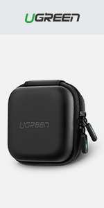 UGREEN Earphone Case Small Headphone Hard Case Carrying Bag Pouch With Mesk Pocket