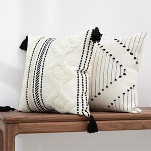 sqaure tassel fringes throw pillow cover white cream beige case farmhouse home décor 18x18