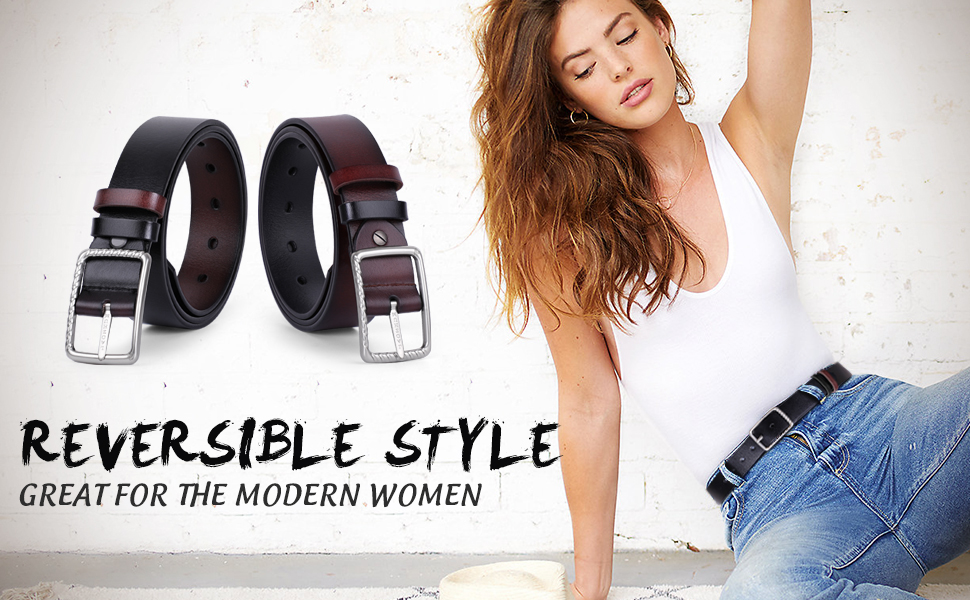 Reversible Leather Belt for Women