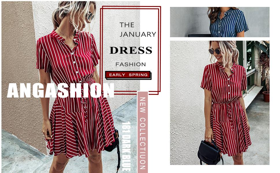 Women Holiday Plain Short Sleeve Belt Summer Loose Casual Work Party Mini Dress