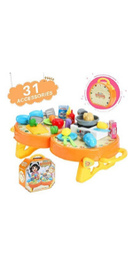 Kids Kitchen Cooking Playset w Sounds & Lights