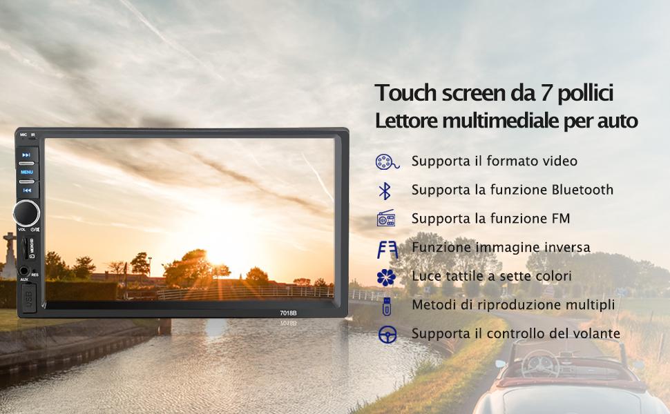 Touch screen da 7 pollici Lettore multimediale per auto