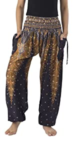 Black peacock printed harem boho pants