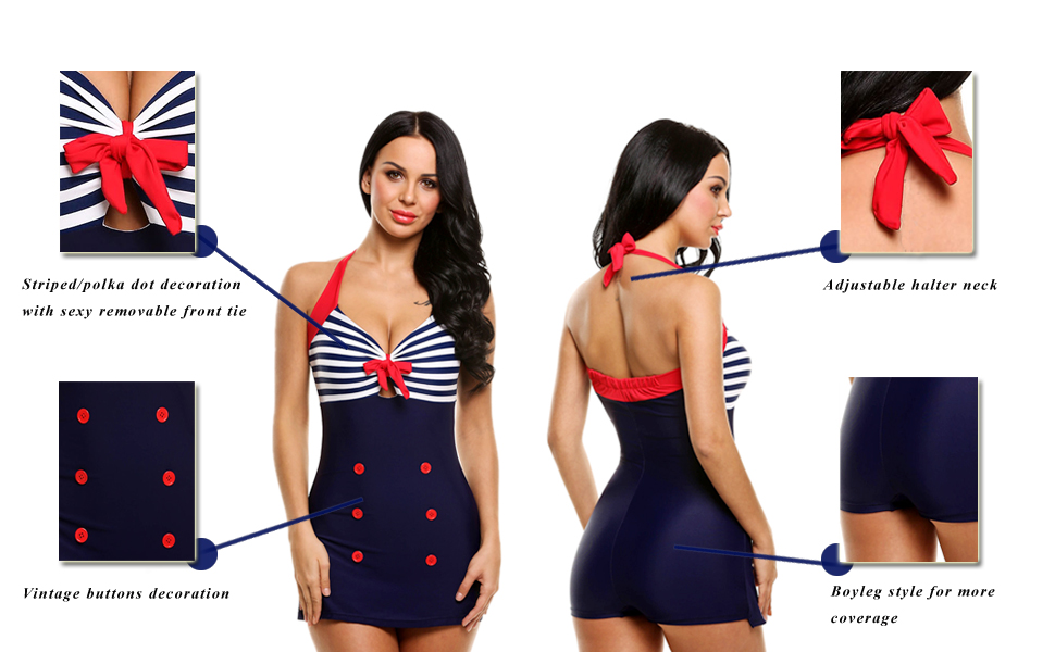 Ekouaer Womens Vintage Retro Striped One Piece Swimsuit Pin up Halter Monokini Bathing Suit