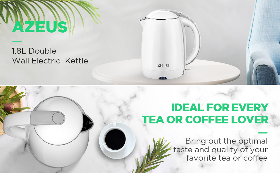 AZEUS 1.9 Qt Double Wall Electric Kettle(BPA Free)