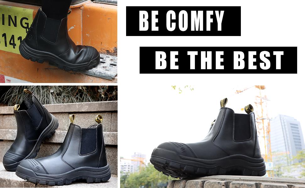 Slip on steel toe work boots
