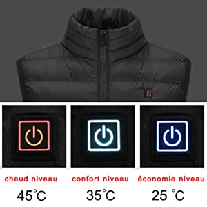 veste chauffante l/ég/ère et r/églable pour hommes et femmes aliment/ée par USB manteau chauffant pour les sports de plein air GREAHWD Gilet chauffant