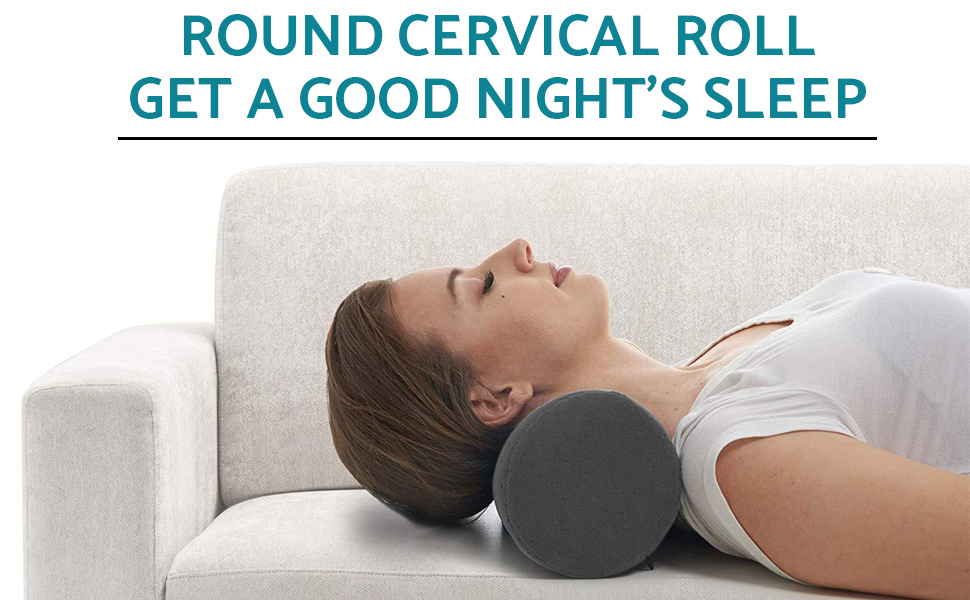 bamboo gray round cervical roll cylinder bolster pillow with removable washable cover ergonomically designed for head neck back and legs ideal