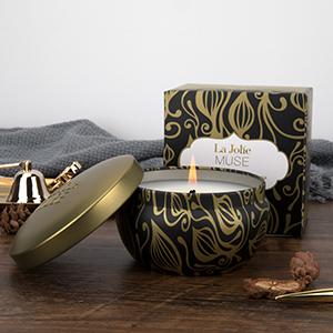 La Jolíe Muse vela aromatica - Vela perfumada de tabaco y vainilla, vela tabaco, vela aromatica para regalo, Lata, 35-45 horas, 6.5oz