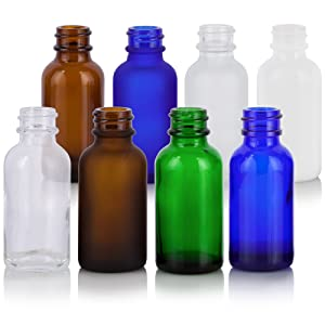 Boston Round Bottles in various colors