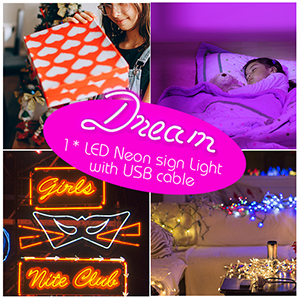 led signs,neon light,led signs for bedroom,light up signs,neon signs for wall decor,dream neon light