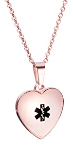 Rose gold Heart Charm Medical ID Alert Necklaces for Women