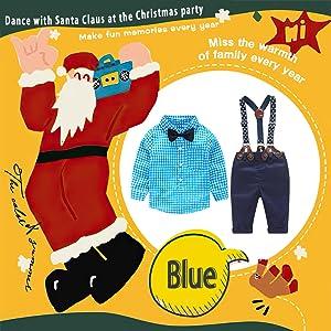 Christmas Pyjamas Family Cotton Sleepwear Set Merry Christmas Santa Prints Top with Checkered