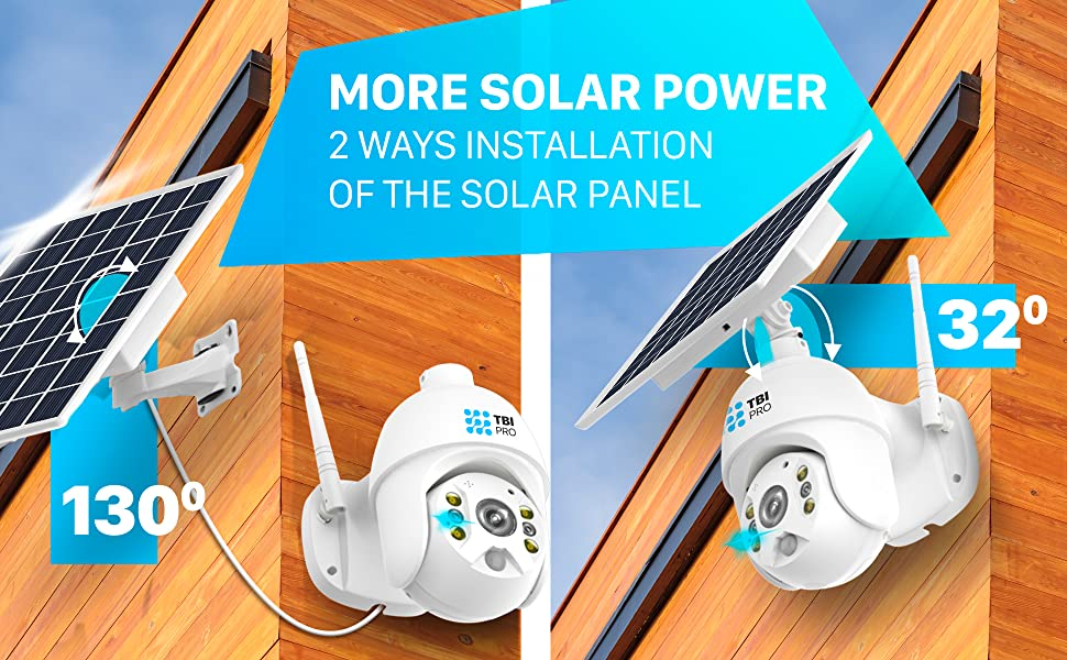 solar powered wireless security camera outdoor with night vision home Wifi system indoor phone app