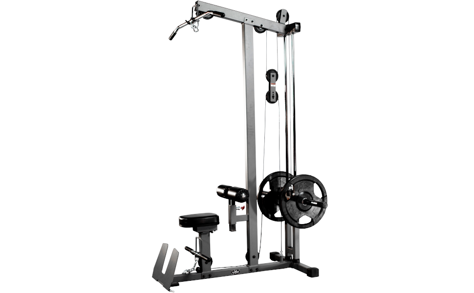 XMark lat pulldown and low row cable machine with high and low pulley stations and flip-up footplate