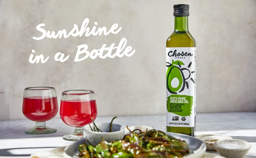 Chosen Foods Pure Avocado Oil Non-GMO High-Heat Cooking Frying Baking Sauce Dressing Marinade Grill
