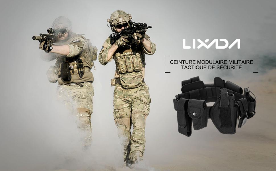 Police Blusea Ceinture Tactique Militaire Longue Dur/ée et Amovible Utility Equipment System//pour Personnalisable S/écurit/é Correction Gaurds 6pcs kit Noir USW