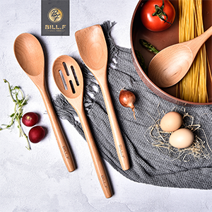 kitchen cooking utensil set beech wood Non Scratch natural turner slotted spoon spatula kitchentool