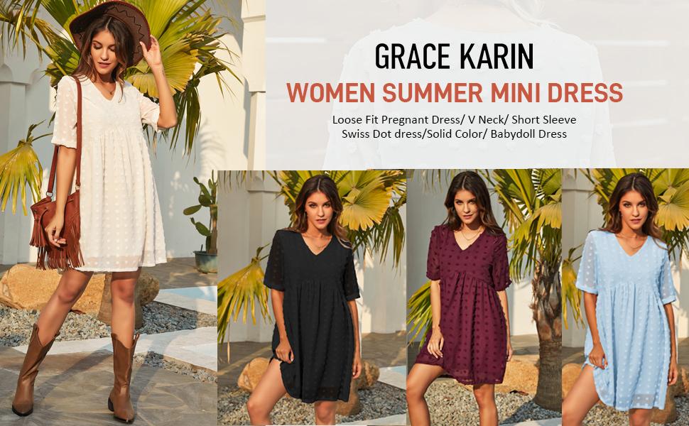 Women's V Neckline Cute Swiss Dot Short Sleeve High Waist A-Line Mini Dress with Ruffle Hem