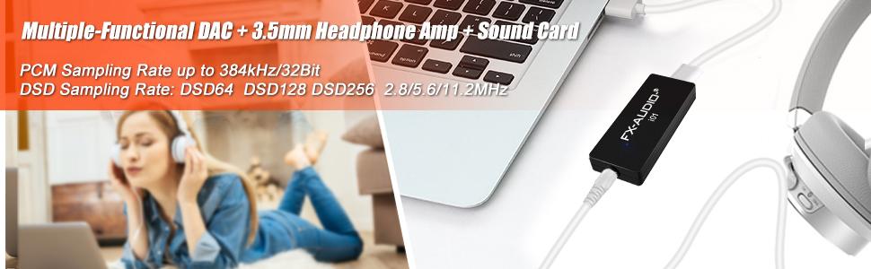 sound card dac 3.5mm headphone amp
