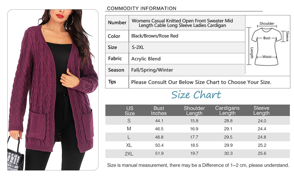 Womens Casual Knitted Open Front Coat Mid-Length Sweater Hollow Out Cable Cardigans