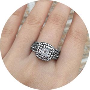 NEWSHE Black wedding rings for women men