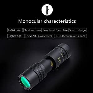 4k 10-300x40mm super telephoto zoom monocular