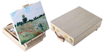 WELLAND Small Wooden Box Easel, Portable Desktop Easel for Painting, Adjustable Table Top Sketch Box