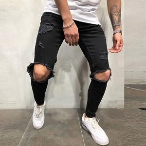 Fanteecy Men's Ripped Jeans Slim Fit Skinny Stretch Jeans Pants