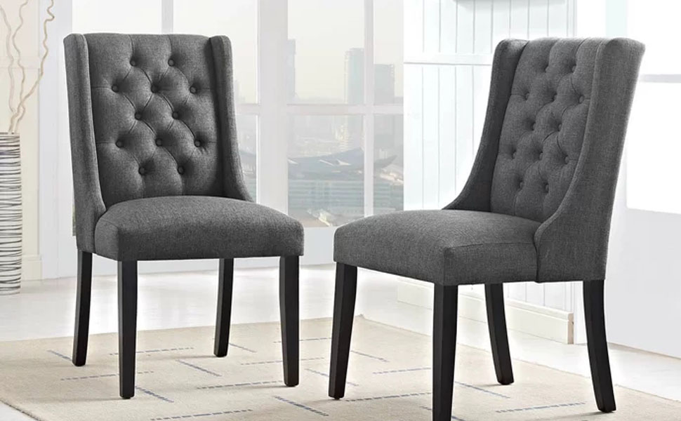 Linen Fabric Wood Accent Dining Chair