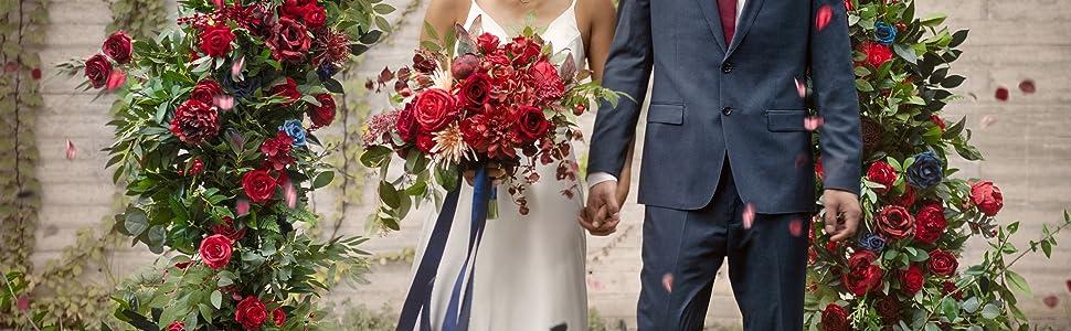 Classic Burgundy and Navy Blue Wedding Flower Decoration
