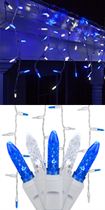 Blue and Cool White LED Icicle Lights, M5