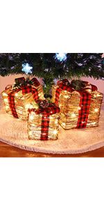 Lighted Christmas Rattan Gift Boxes, Set of 3