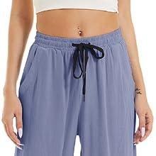 cotton linen drawstring walking pants sky blue open bottom yoga pants spring fall wide leg