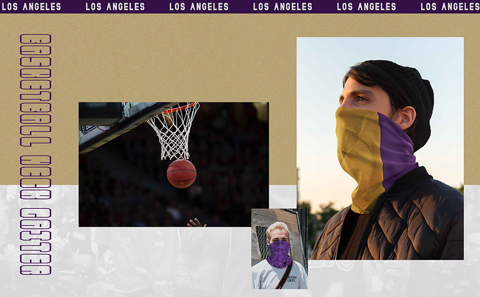 Los Angeles Purple Seamless Multifunction Face-Mask,Neck Gaiter Mouth Cover for Festivals Running