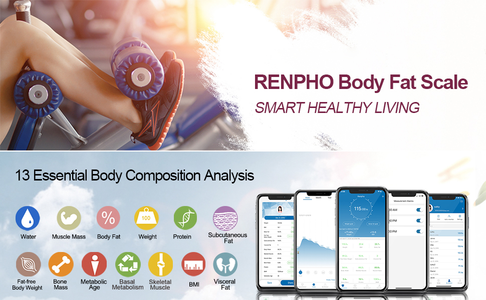 bluetooth body fat scale bathroom weight composition analyzer smartphone app measurements fitness