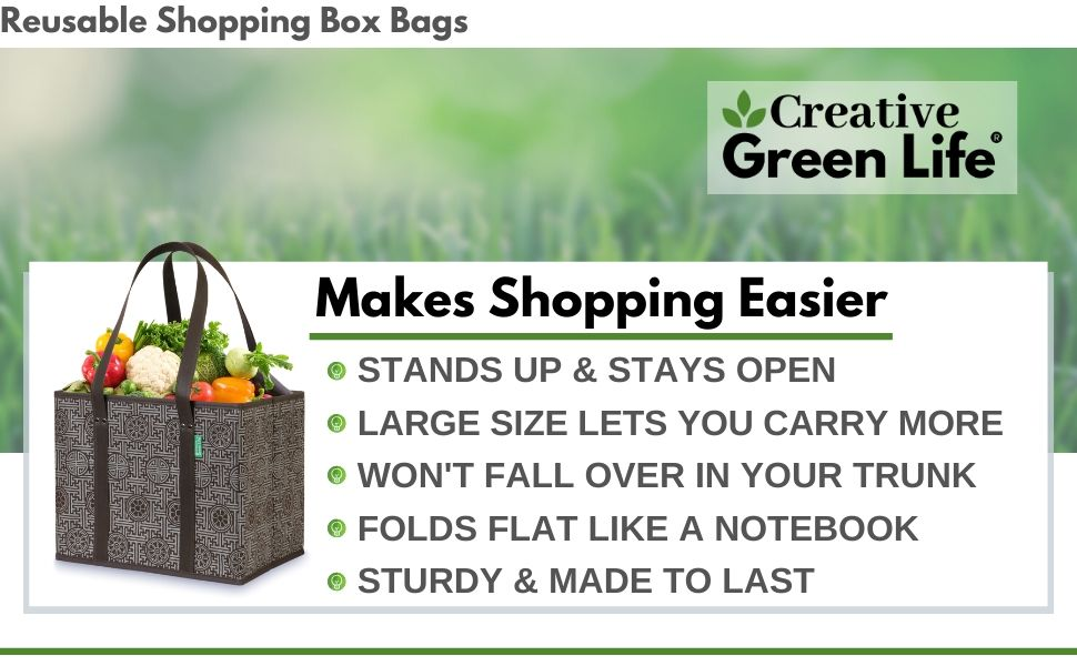 Creative Green Life Reusable Grocery shopping Box Bags makes shopping easier