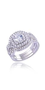 Newshe Wedding Engagement Ring Set 925 Sterling Silver