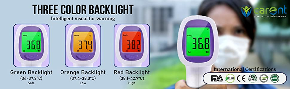 carent infrared thermometer non contact digital under 2000 men women kids light for all temperature