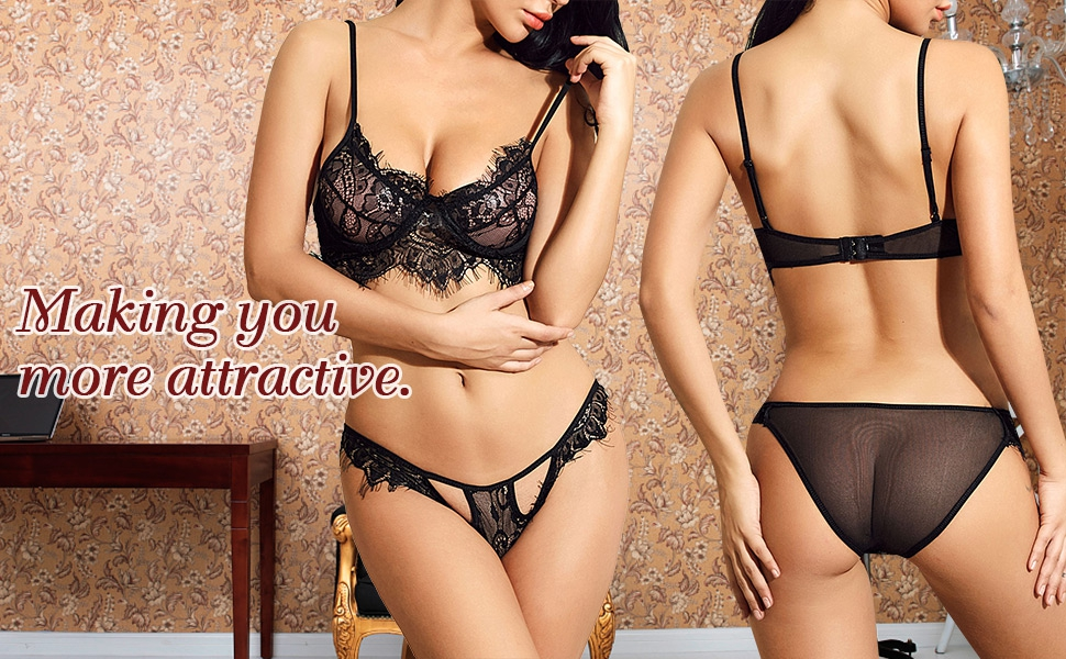 Yusongirl Lace Lingerie Sets Babydoll Comfortable Bra and Panty Halter Underwear for Women