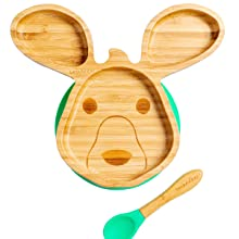 Bamboo and green silicone suction based plate in the shape of a kangaroo