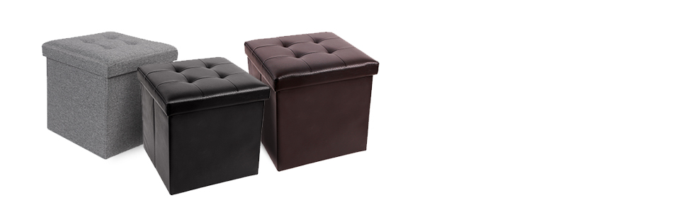 ottoman storage box footstool bedroom pouffe black brown kids toy living room folding stool small
