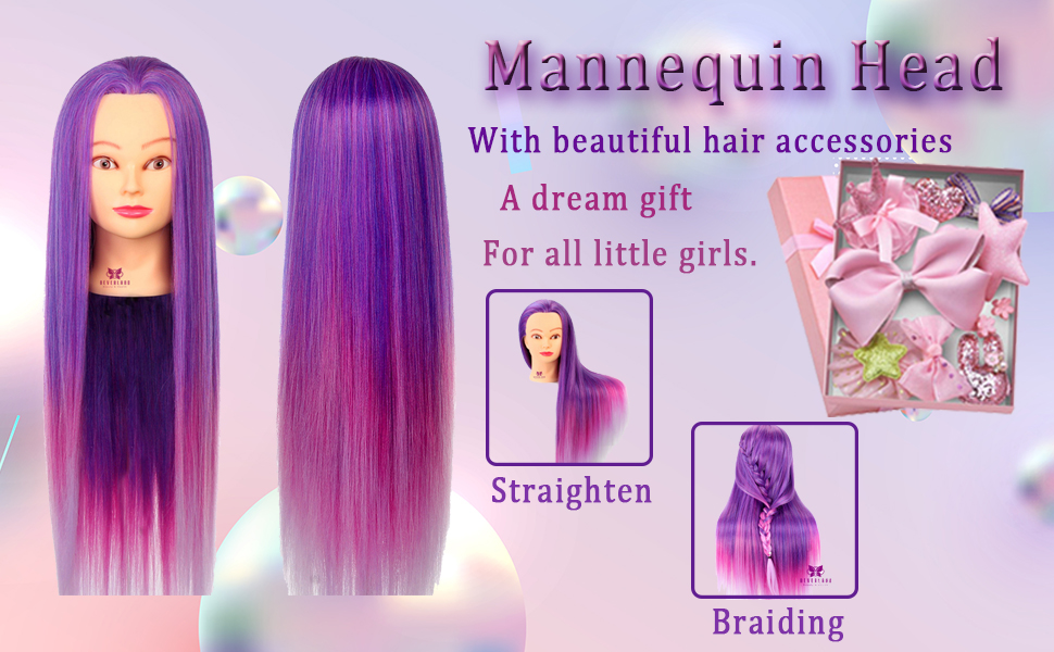 Mannequin Head with colorful long hair
