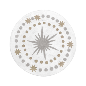 Gold, Grey and White Star and Moon Accent Floor Rug or Bath Mat